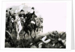 Frederick the Great, king of Prussia, with his troops in battle by English School