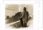 Roman soldier guarding a border wall by English School
