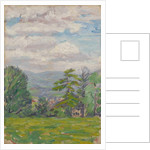 View through meadow and tree with valley beyond by Arthur Haythorne Studd