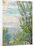 Blue sky and clouds with branches of fruit trees to the fore by Arthur Haythorne Studd