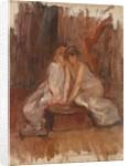 Two women sitted by a harp - c.1900 by Albert de Belleroche