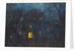 House at night with a single window lit by Albert de Belleroche