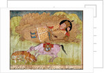 Rostam asleep, near his horse and a slaughtered leopard by School Persian