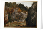 View of a defile Gorge by Gustave Courbet