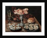 Almonds, Oysters, Sweets, Chestnuts, and Wine on a Wooden Table, c.1605-30 by Osias the Elder Beert