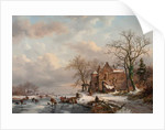 A Winter Landscape with Skaters on a Frozen River, 1862 by Frederick Marianus Kruseman