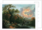 An Italianate hilly and wooded river landscape with shepherds and their flock at rest by Jan III Snellinck