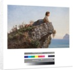 Young girl on a rock in Sorrento by Filippo Palizzi