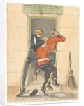 A hussar, an infantryman and a dragoon, all in undress uniform, scrambling for the entrance of a canteen, c.1890 by English School