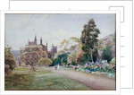 The long walk and flower border in May - New College, Oxford, c.1918 by William Matthison