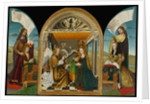 The Annunciation with Saints and Donors, called The Latour d'Auvergne Triptych, c.1497 by Master of the Latour d'Auvergne Triptych