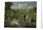 The Brockman Family at Beachborough, Temple Pond, with the temple in the distance on left, c.1744 by Edward Haytley