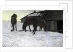 Stallions at Water-Pond by Valentin Aleksandrovich Serov