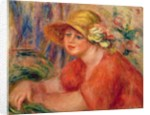 Portrait of a woman in a hat decorated with flowers by Pierre Auguste Renoir
