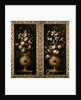 Pair of still lives of flowers in decorative gold vases with lapiz cartouches by Juan de Arellano
