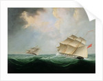 A Naval Brig Pursuing another Brig by Thomas Buttersworth