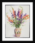 Larkspur and Gladioli in a Moroccan Vase by Christopher Ryland