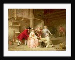 Group of musician actors gambling by Adolphe Francois Monfallet