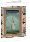 Lady holding a flower by School Mughal