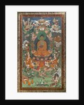 Invitation to predication and other scenes. East Tibet. Second half of the 19th century. Xylography painted on canvas. by School Tibetan