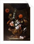 Flowers in a Sculptured Vase by Jean-Baptiste Monnoyer