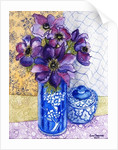 Anemones in a Blue and White Vase with Pot and Textiles by Joan Thewsey