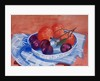 Plums and Mandarins in a dish by Joan Thewsey