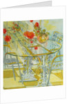 Patio Garden,Geraniums Reflected by Joan Thewsey