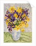 Iris and Daffodils with Patterned Textiles by Joan Thewsey