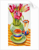 Striped Cup with Saucer, Vase and Tulips by Joan Thewsey