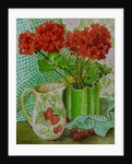 Red geranium with the strawberry jug and cherries by Joan Thewsey