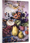 African Violets with Victorian Jug and Pears by Joan Thewsey