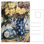 Blue against Blue - Chrysanthemums and Blue Enamel Jug on an Italian Tile by Joan Thewsey