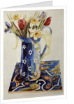 Tulips, Iris and Narcissus in a Blue Enamel Jug with an Italian Tile by Joan Thewsey