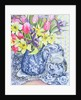 Daffodils, Tulips and Irises with Blue Antique Pots by Joan Thewsey