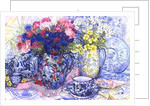 Cornflowers with Antique Jugs and Patterned Fabrics by Joan Thewsey