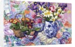 Daffodils, Tulips and Iris in a Jacobean Blue and White Jug with Sanderson Fabric and Primroses by Joan Thewsey