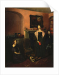 Fireside in the Family Home with three members of the Family by John Petherick