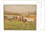 Two Horses and a Circus Van by John Atkinson