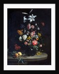 Still life: Bouquet of flowers, in a glass vase by Jan Olis