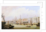 View down the Thames with Blackfriars and St. Paul's Cathedral Beyond by English School