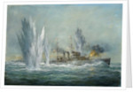 HMS Exeter engaging in the Graf Spree at the Battle of the River Plate by Richard Willis