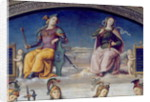 Fortune and Temperance, detail from the Lunette of Fortune and Temperance by Pietro Perugino
