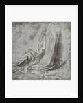 Drapery study for a kneeling figure in Profil Perdu to the right by Leonardo da Vinci