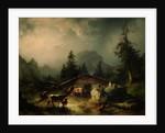 Alpine hut in Rainy Weather by Friedrich Gauermann