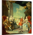 Maria Theresa and her Husband at the staircase leading from the Great Hall of Schloss Schonbrunn into the large courtyard by Martin II Mytens or Meytens