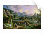 Picture Clock with scene of an Alpine village landscape with clock mechanism in church tower by C. L. Hoffmeister