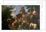 Group of shepherds with a horse by Domenico Brandi