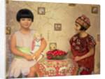 Two children with a bowl of cherries by Franz von Matsch