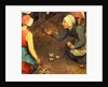Detail of a game throwing knuckle bones by Pieter Bruegel the Elder